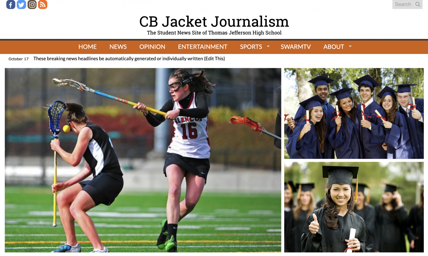 The home page has a new look with placeholder stories and visuals until more content has been created.