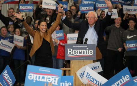 NY Representative Alexandria Ocasio-Cortez and NH Senator Bernie Sanders speak at a rally on the Iowa Western campus in Council Bluffs on November 8, 2019.