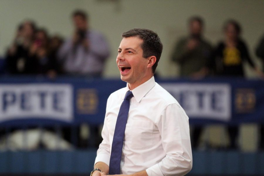 Mayor Pete Buttigieg campaigns for Democratic nomination at Abraham Lincoln High School on November 25, 2019.