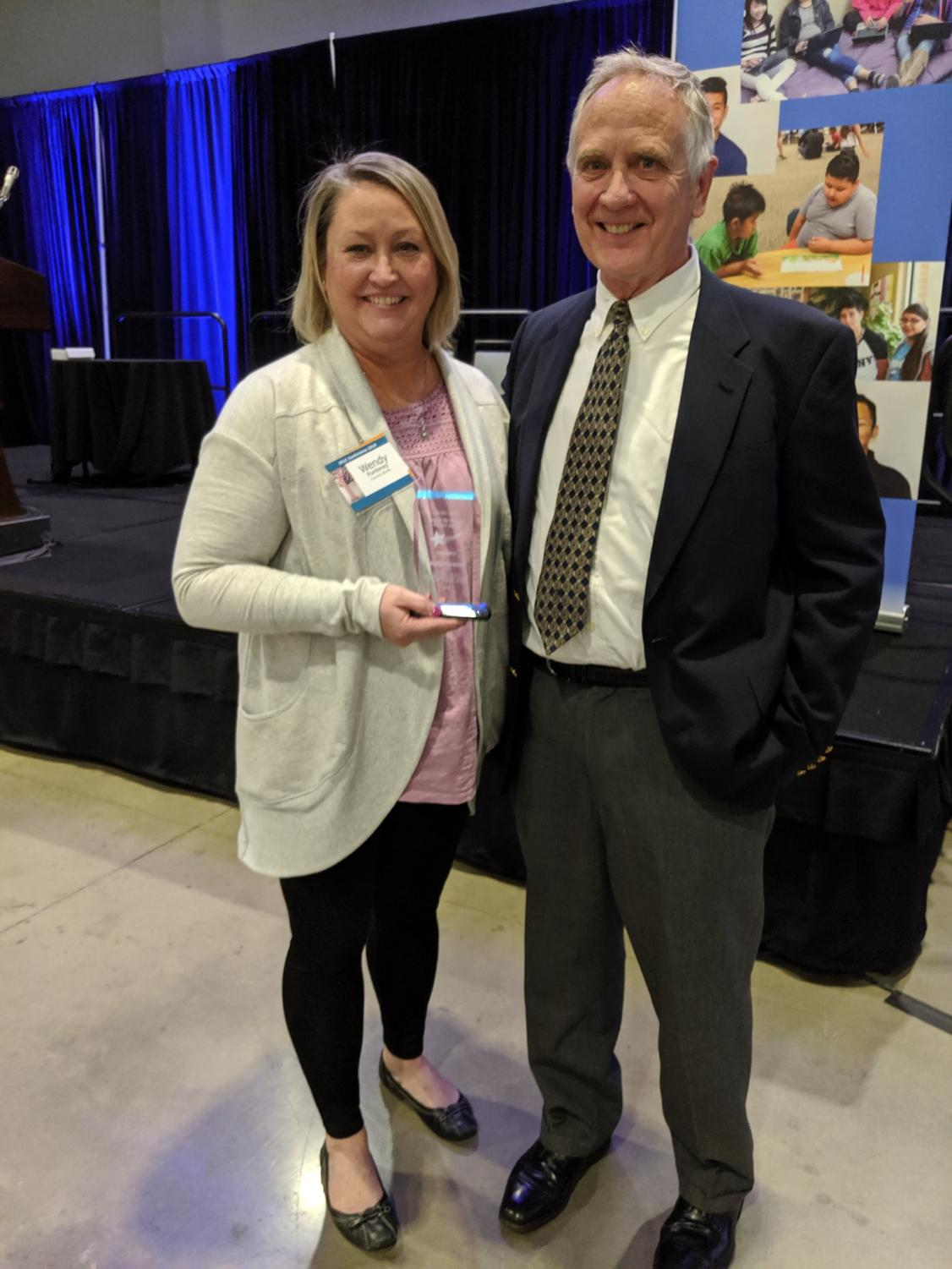 Mrs. Wendy Punteney received the Dan Chavez Beyond the Horizon Teacher award for 2019. She is pictured here with her nominator, and TJ teacher, Jim DeMott.