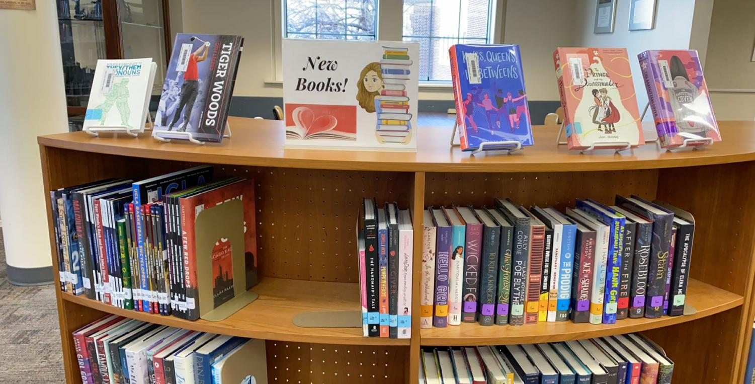 New books ranging from sports to romance appearing in TJ's library.