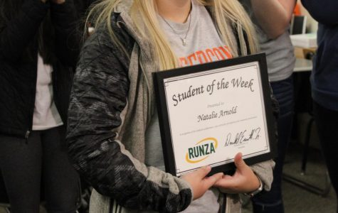 CBTJ senior Natalie Arnold receiving her 'Runza Student of the Week Award' on December 11, 2019.