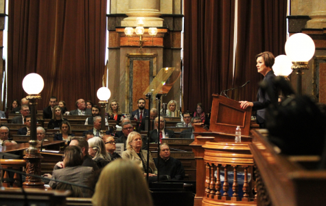 Governor Reynolds speaking at the Capital Building making a Condition of the State Address in Des Moines, Iowa on January 14, 2020.