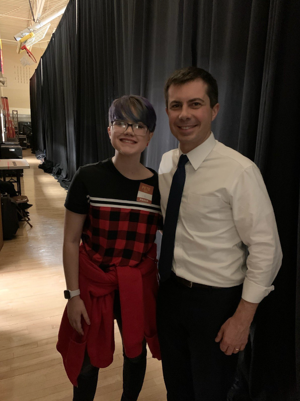 Thomas Jefferson junior Airamee Deboodt had the opportunity for a photo with South Bend senator, Pete Buttigieg after his speech at Woodrow Wilson Middle School on January 18, 2020.