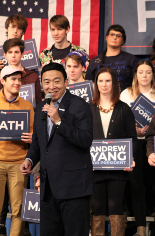 Presidential candidate Andrew Yang speaking at a rally at Abraham Lincoln High School on January 27, 2020.