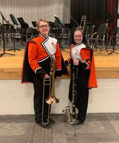 CBTJ sophomore Elias Dross and junior Emile Bostic preforming at SWIBA, South West Iowa Honor Band in Atlantic, Iowa on January 20, 2020.