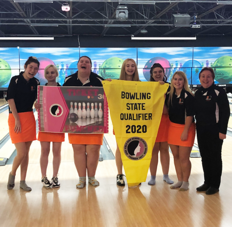 Girls Bowling punched their ticket to State, and for some of the seniors, this is their fourth trip. Natalie Arnold was the top individual champion and Madi Baxter was second. Bowlers L to R: Sami Plechas, MaKenna Rethmeier, Madi Baxter, Lynn Oliver, Emily Eikenberry, Natalie Arnold, Coach Diane Storey.