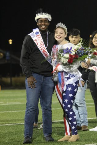 Senior Homecoming King, Amer Ibar, and Queen, Chloe Alley at Friday nights game.
