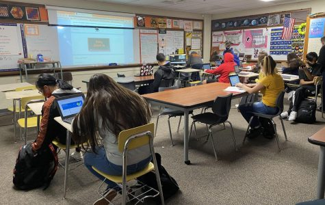 In Mrs. Story's classroom students are spread apart to ensure social distancing.
