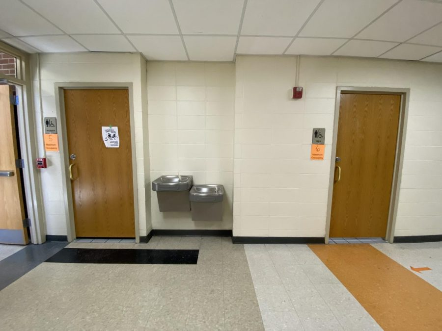 A photo taken of the restrooms on the 2nd floor of the C-wing during D lunch.