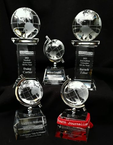 The 2021 Journalism Excellence trophies.
